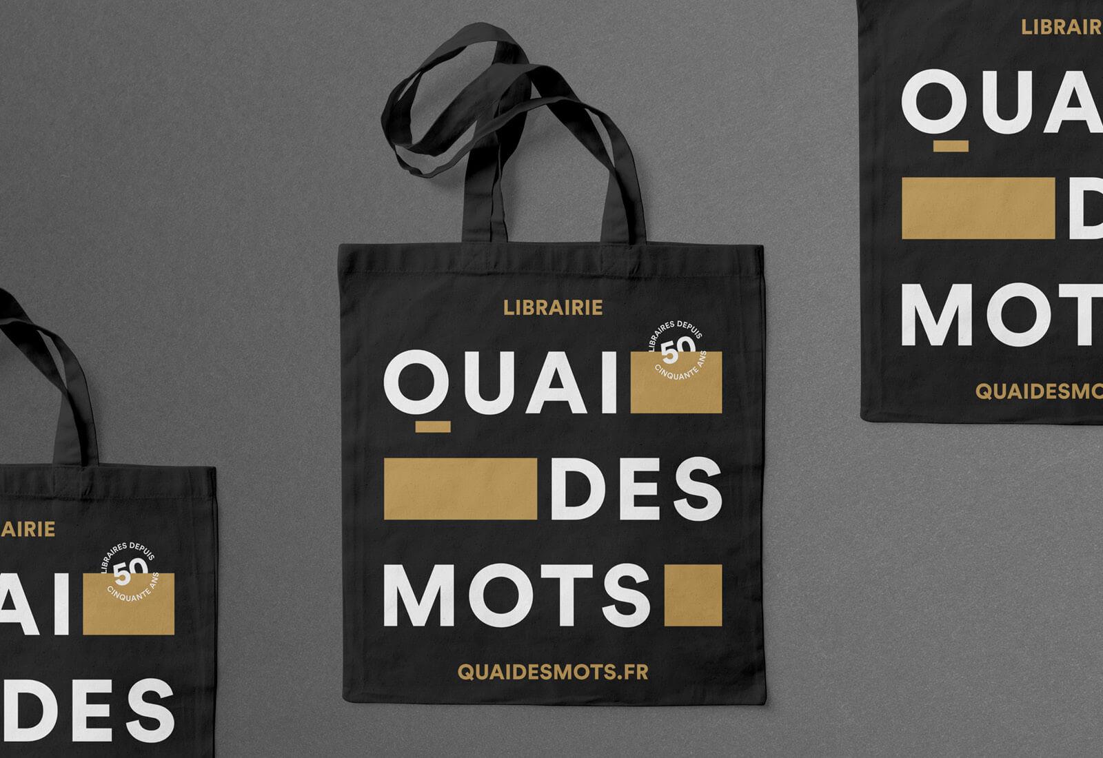 lezardscreation agence communication publicite vosges remiremont quai des mots lezards creation quai des mots tote bag noir