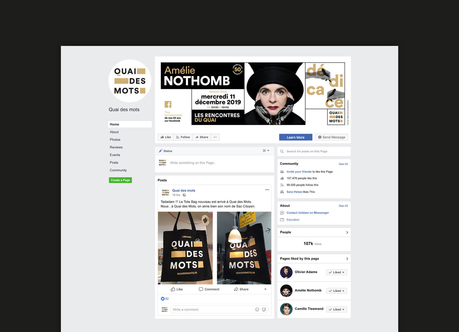 lezardscreation agence communication publicite vosges remiremont quai des mots quai des mots facebook page mockup ( )