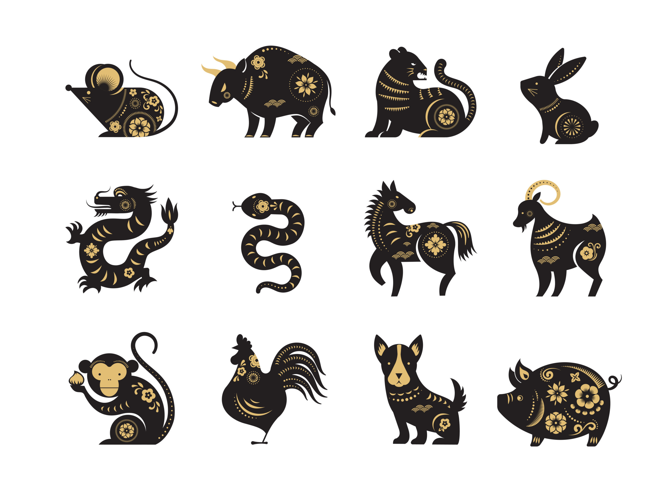 chinese new year, zodiac signs, papercut icons and symbols vector illustrations