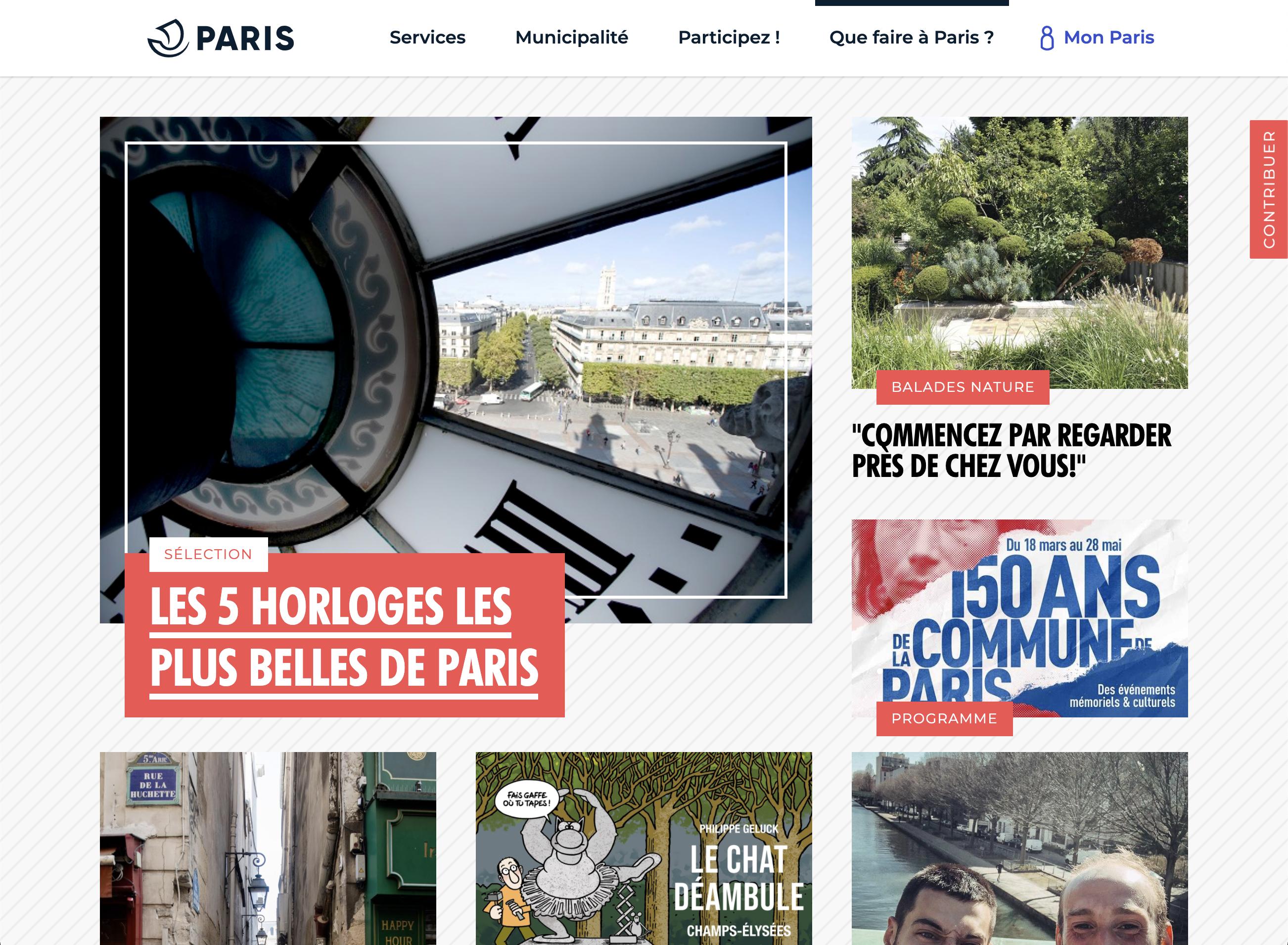 """Page """"Que faire à Paris"""" du site de la ville de Paris"""